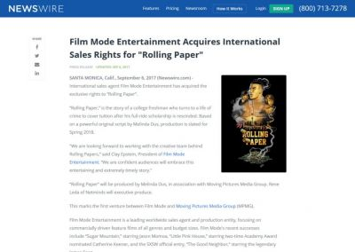 "NewsWire: Film Mode Entertainment Acquires International Sales Rights for ""Rolling Paper"""