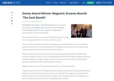 NewsWire: Emmy Award Winner Magnetic Dreams Boards 'The Sock Bandit'