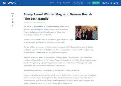NewsWire: Emmy Award Winner Magnetic Dreams Boards 'The Sock Bandit'