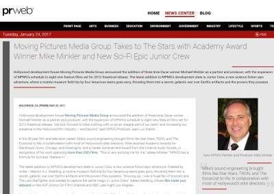 PR Web: MPMG Takes to the Stars with Academy Award Winner Michael Minkler