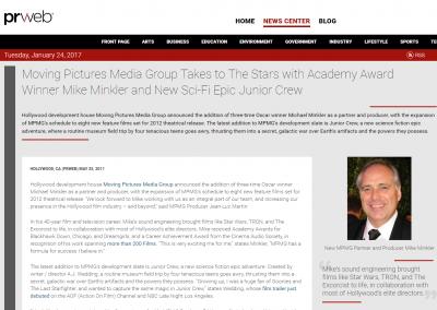 PR Web: MPMG Takes to the Stars with Academy Award Winner Michael Minkler