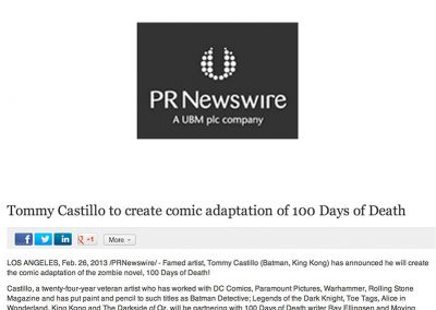 """PR Newswire: Tommy Castillo To Create Comic Adaptation of """"100 Days of Death"""""""