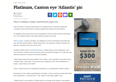 "Variety: Platinum Studios to Adapt ""Atlantis Rising"""
